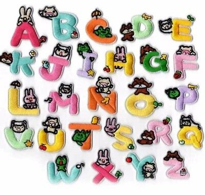 Sew on Retro Alphabet Embroidery Clothes 1308 A-Z Letter Patch Patches Iron on