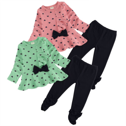 2PCS Toddler Kids Baby Girls Outfits Long Sleeve Clothes Set Pants Top And Pant