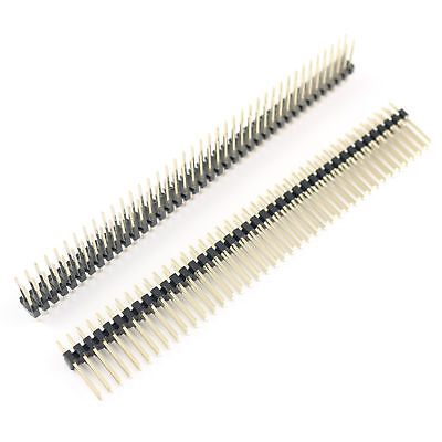 10pcs Male Gold-plated 2.54mm 80pins 2X40 Row Double Male Pin Curve Header Strip