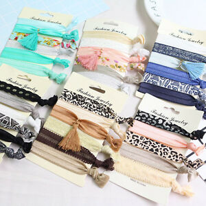 Elastic-Hair-No-Crease-Ponytail-Holder-Foe-Twist-Ribbon-Band-Ropes-6-Pieces-New