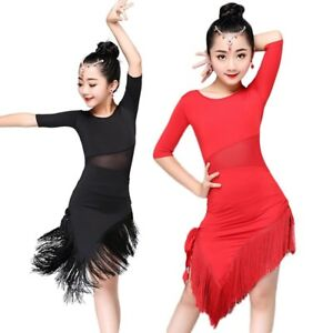 bcd633a0b04d8 Image is loading Girls-Latin-Dance-Dress-Tassel-Dancewear-Kids-Salsa-