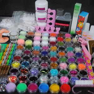 78-Acrylic-Powders-Nail-Art-Set-Acrylic-Liquid-Tips-Brush-Glue-Dust-Kits-US-Post