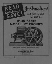 John Deere Model E Instructions And Parts List No 107t
