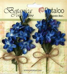 LILACS-Velvet-Fabric-ROYAL-BLUE-2Pull-Apart-12Mini-Flowers-15-20mm-amp-Buds-Petal-V1