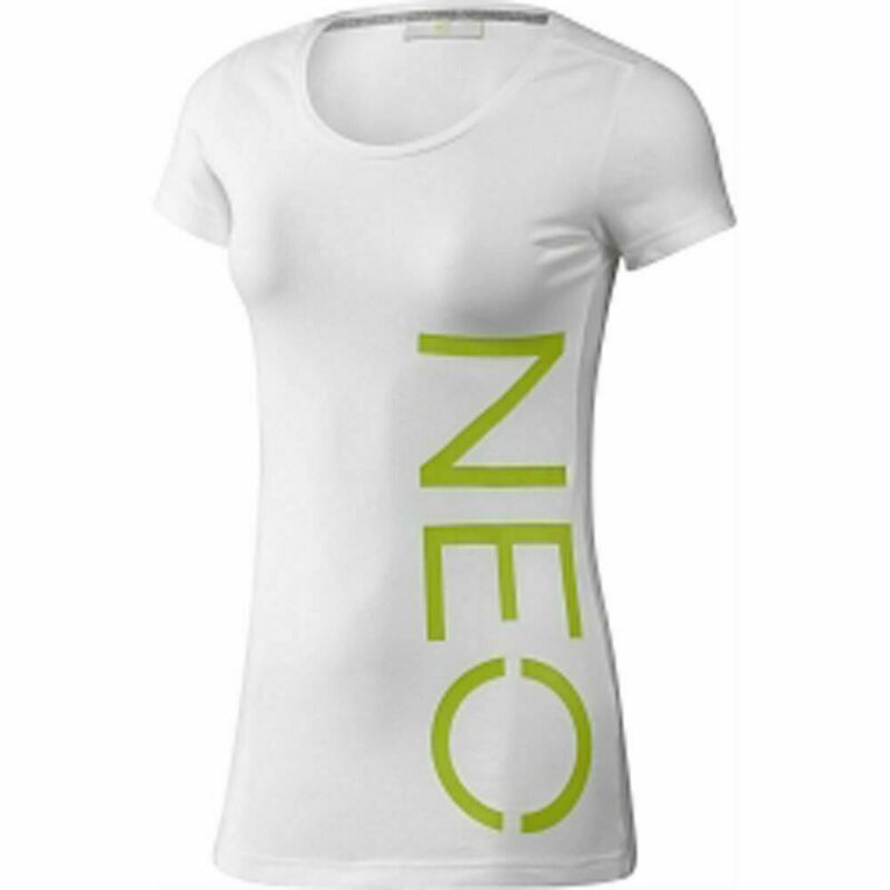 Adidas Neo Logo Tee T-shirt Damen Freizeit Weiß Neon Lime Gr. 152 Xxs Xs S L Xl