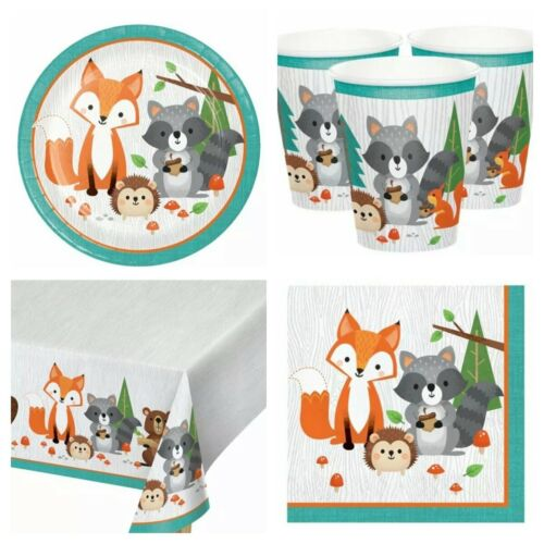 Woodland Animal PARTY PACK FOR 8 GUESTS 1 TABLE COVER 8 CUPS 8 PLATES 16 NAPKINS
