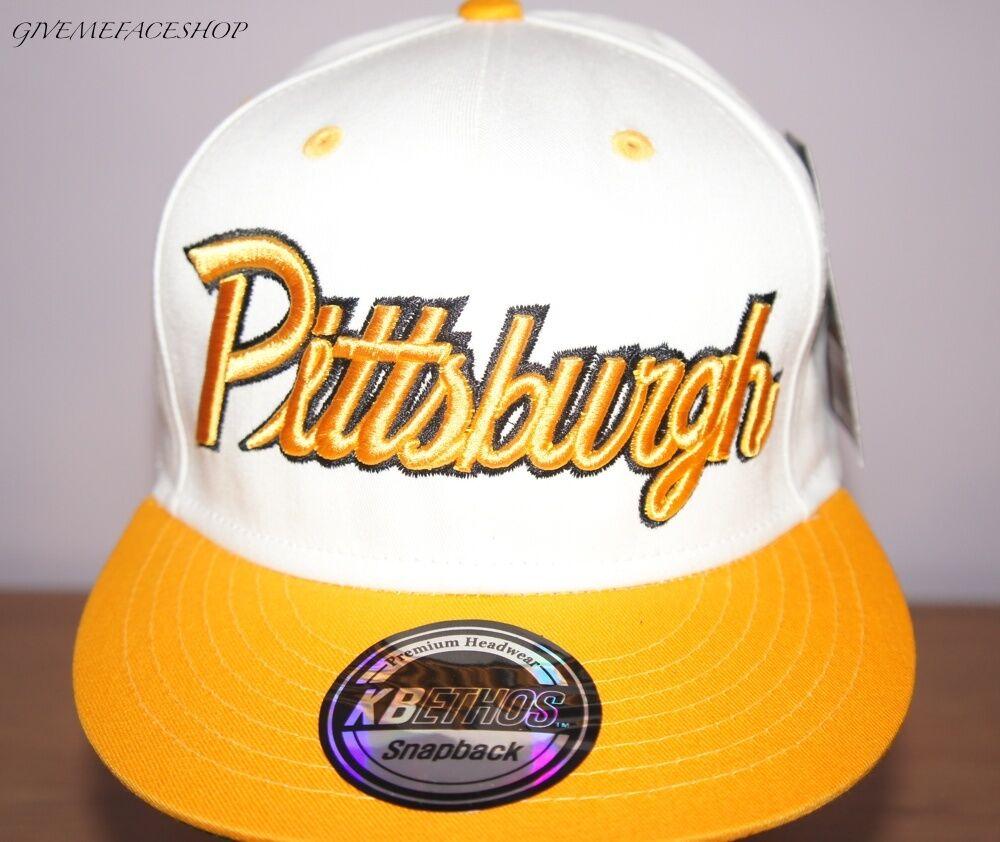 Exklusiv Pittsburgh Baseball Kappe, Schiebermützen Enganliegend Hut, Hip Hop Hut