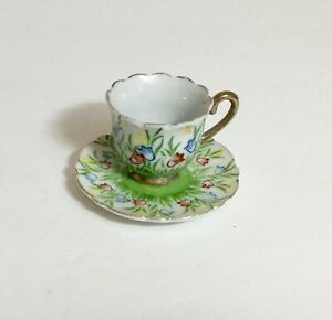 Vintage Japan Tulips Miniature Demitasse Cup and Saucer Set 1 1/2 Inches Tall 14