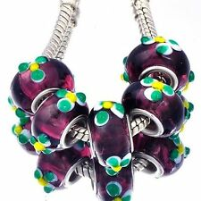 5pcs Purple Lampwork Greeb Flower Murano Glass Bead European Fit Chain Bracelet