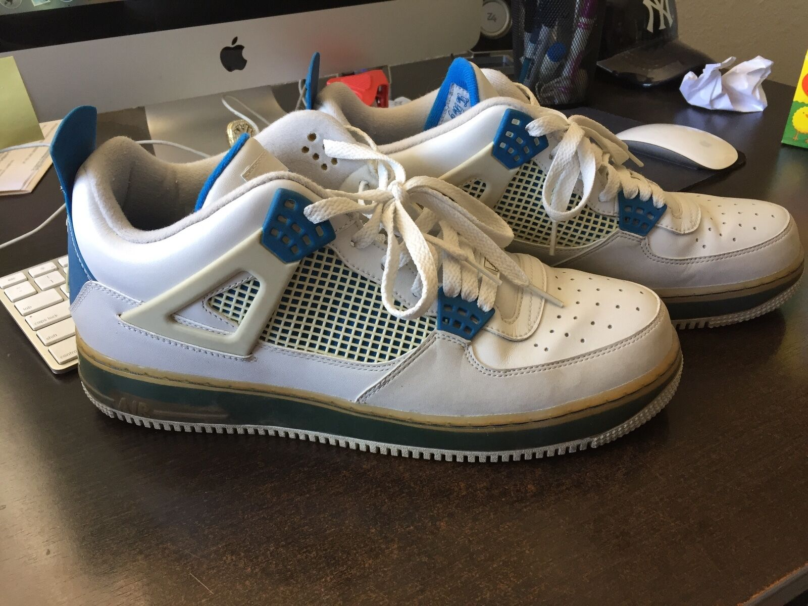 MENS NIKE PRE-OWNED AF-1 WHITE blueE SIZE 12