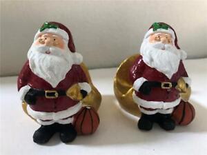 Set Of 2 Ceramic Christmas NAPKIN HOLDERS Santa Claus With Golden Sleigh