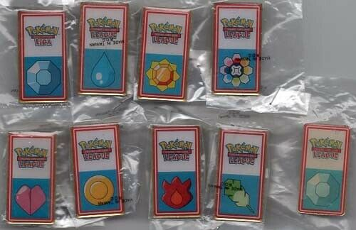 POKEMON 2001 KANTO LEAGUE FIRST SET OF 8 BADGE//PINS ALL WHITE ON SALE! LIMITED