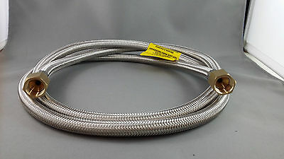 """BBQ 6mm STAINLESS BRAIDED LPG HOSE WITH 3/8"""" FEMALE SAE FLARE NUT ENDS x 1800MM"""
