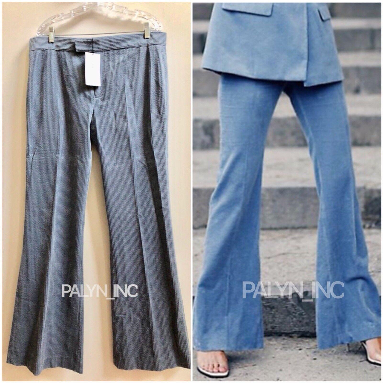 RARE_NWT ZARA AW18 blueE GREY FLARED CORDUROY PANTS 8048 619_XS S M L XL