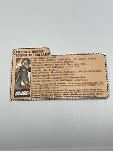 GI Joe Flash File Card Laser Rifle Trooper Peach Bio File Card ARAH Canadian
