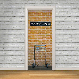 Harry potter platform 9 3 4 door wall sticker wrap mural for Decor mural adhesif