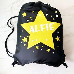Image is loading Personalised-Kids-Yellow -amp-White-STARS-BlackDrawstring-Swimming- 6b1af01abf4ec