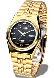Citizen-Classic-Automatic-Men-039-s-Gold-Stainless-Strap-Watch-NH2112-50F