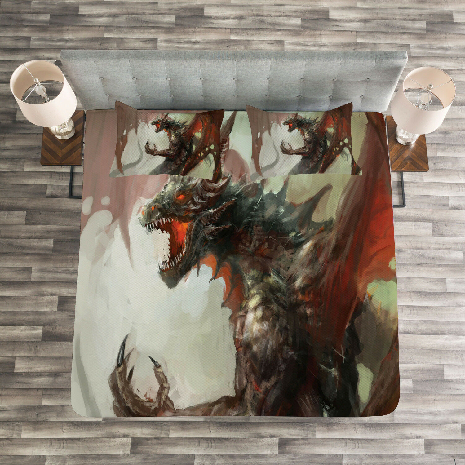 Myth Quilted Bedspread & Pillow Shams Set, Legendary Creature Dragon Print