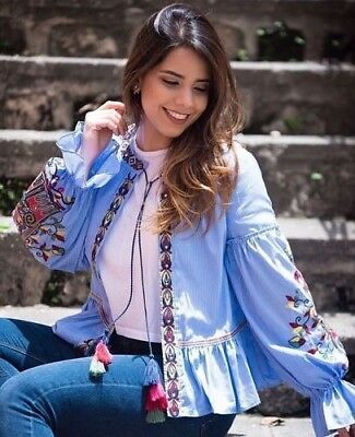 Zara Sequin Bordada a Rayas Chaqueta Blusa Kimono Blusa Chaqueta Bordado S M | eBay