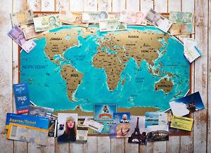 Big Vintage Scratch Off World Map Gift Tube World Push Pin