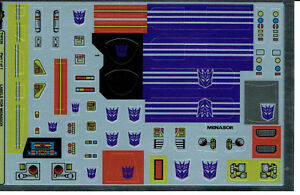 Transformers GENERATION 1 G1 Decepticon Soundwave REPRO Etichette//Adesivi