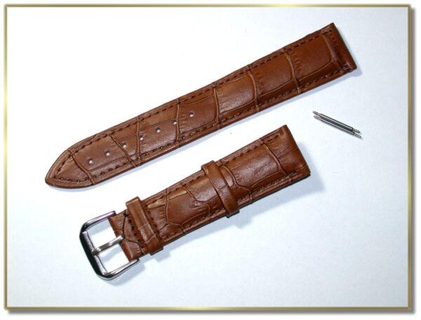 Humor Hochwertiges Echt Leder Uhrenarmband Braun Kroko. 20mm Breit, 3,5mm D. (7936)