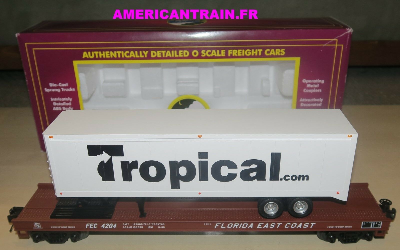 Wagon Flat Car w 40' Trailer Florida East Coast 3 rails échelle O MTH