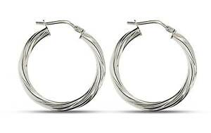 925 Sterling Silver Round Tube Hoop Creole Earrings dtU19av