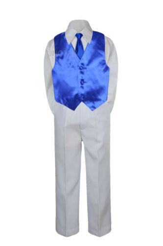 23 Color 4 Pieces White Set Vest Necktie Boy Baby Toddler Formal Tuxedo Suit S-7
