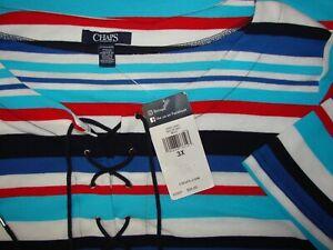 Chaps-Woman-Plus-Size-3X-Sailor-Bay-Nautical-Multi-Colored-Plus-Pullover-Top