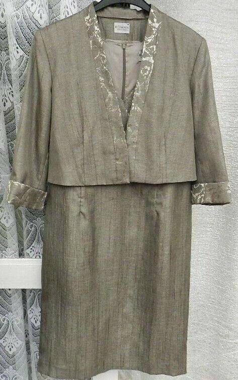 ( Ref 5131 ) Roman Size 16 Beige Mother of the Bride Dress & Jacket Suit Wedding