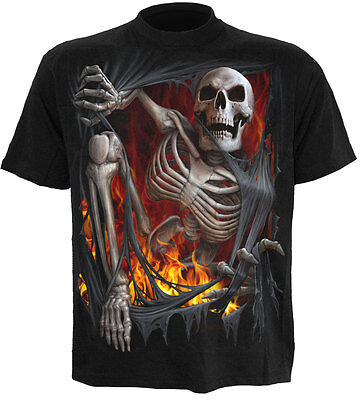 SPIRAL DIRECTDEATH RE-RIPPED T-Shirt/Demons/Skull/Skeleton/Dark Wear/Reaper/Top