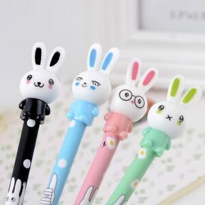 4x-Lot-Cute-Rabbit-Gel-Pink-Pen-Black-Ink-Pen-Kawaii-Stationery-School-Supplies
