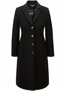 New Austin Reed 350 00 Womens Wool Cashmere Black City Coat Size 12 Ebay