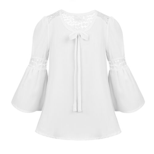 Girls Bell Sleeves Lace Splice Blouse Shirt Kids Bowtie Casual Daily Party Tops