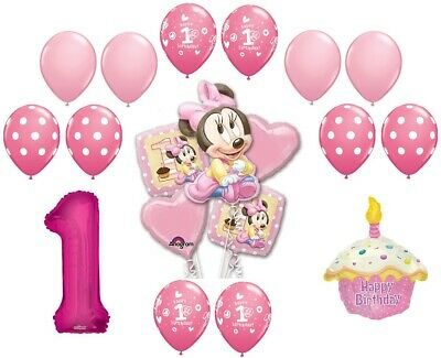 Minnie Mouse 1st Birthday Party Foil Balloons Bundle Set Helium Pink Girl Hearts