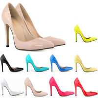 Womens Patent High Heels Pointed Toe Corset Stilettos Prom Court Shoes Size 2- 9