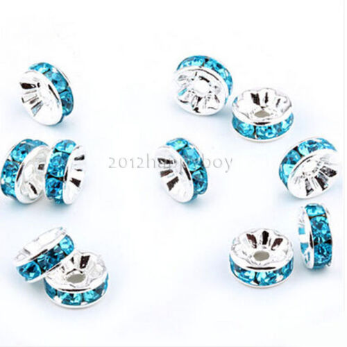 Lots 50//100Pcs Czech Cristal Strass Plaqué Argent Blotter Charms Perles 6 mm
