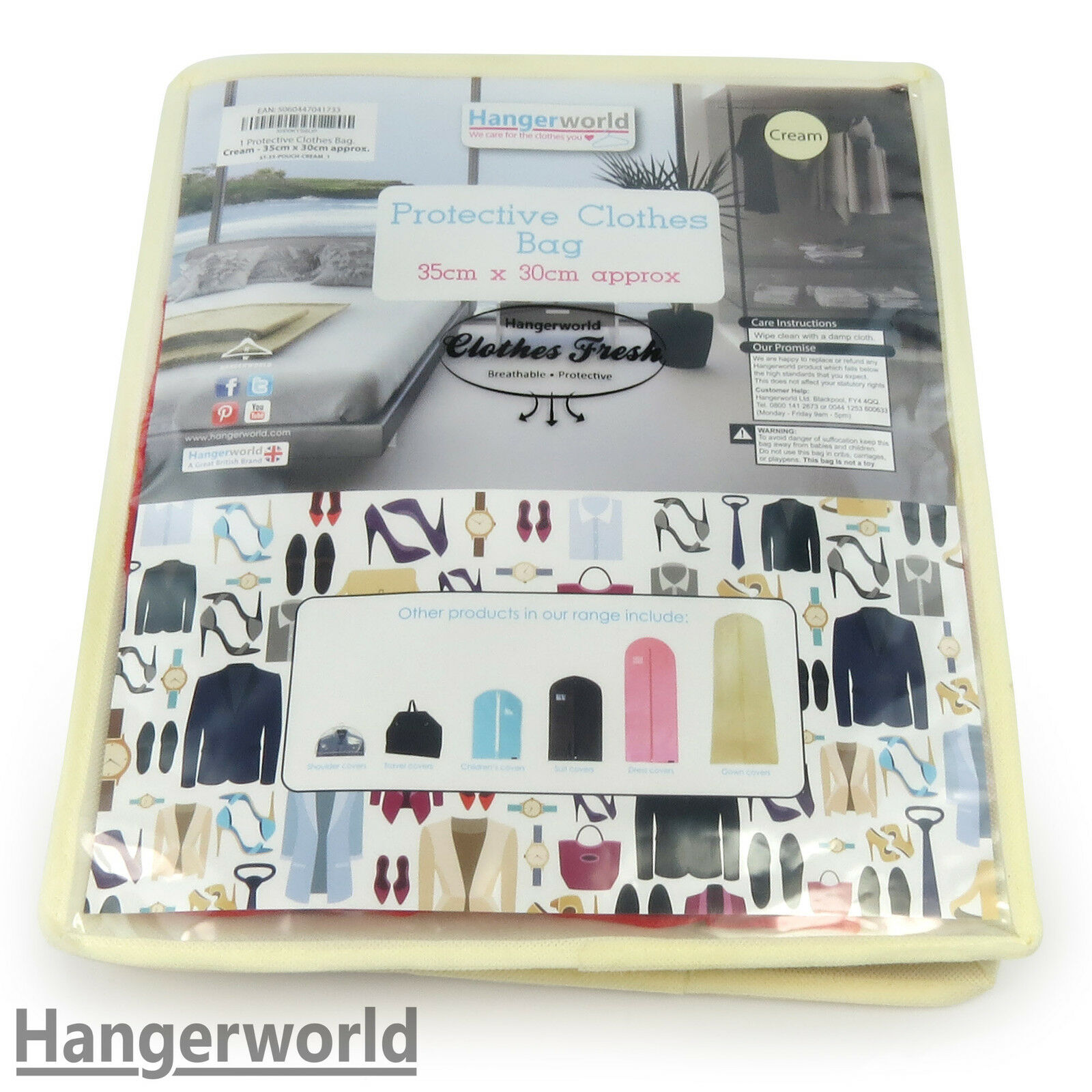 HANGERWORLD 5 Cream Breathable Cashmere Jumper Clothing Storage Pouch Bag with Clear Front