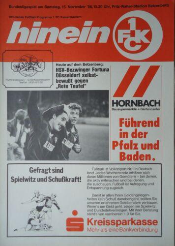 Fortuna Düsseldorf FC Kaiserslautern Programm 1986//87 1