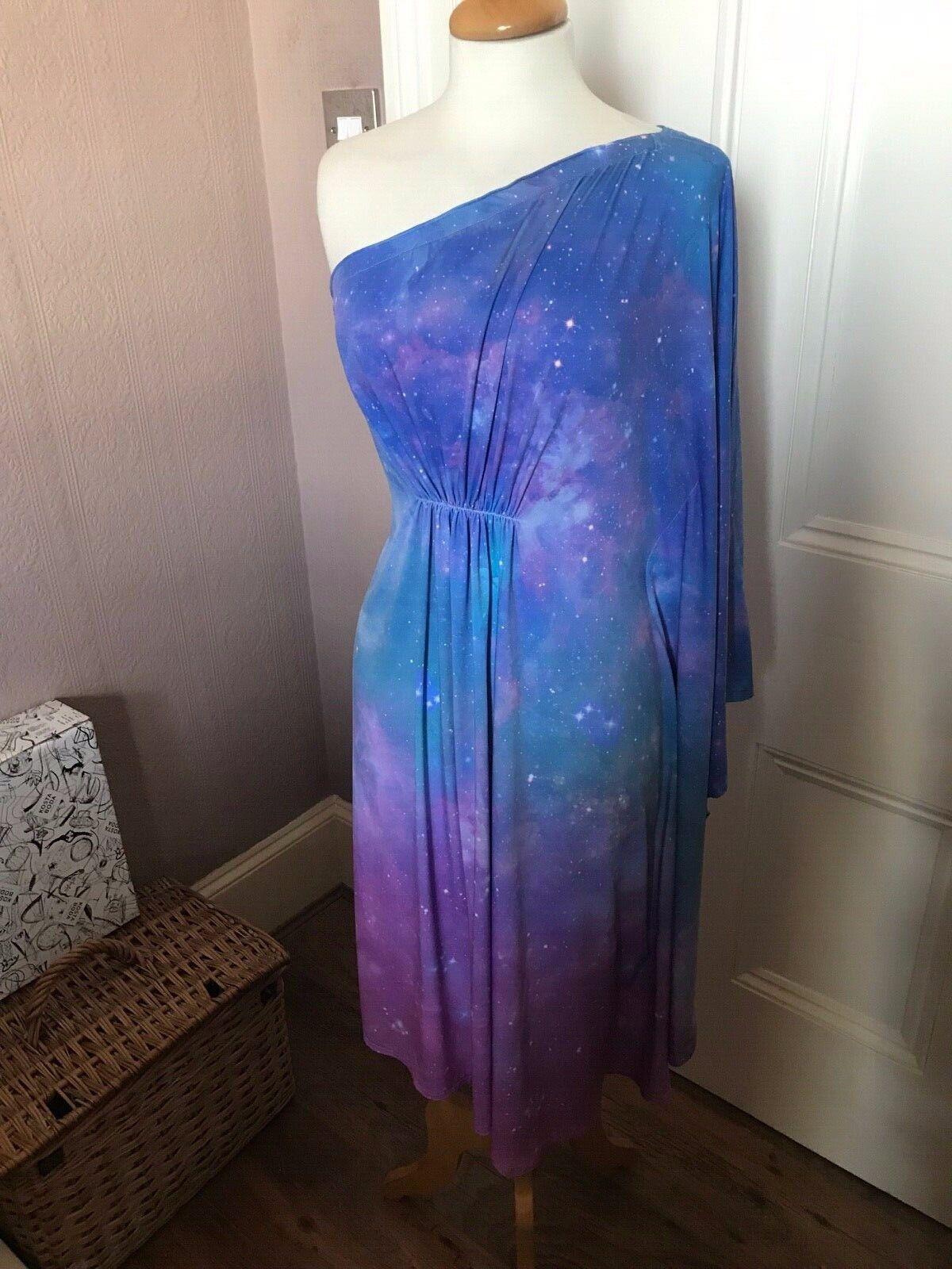 """Annalisa """"Cosmos"""" hasta la rodilla  un hombro Vestido Kaftan (18 20)  el mas de moda"""