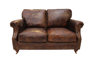 Details About Brand New Vintage Brown Leather 2 Seater Sofa Settee Hzh002 Coach House Fg 03