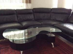 finest selection b98e5 d72f7 Details about Large DFS Leather Sofa Black (6/7 seater Corner Sofa)