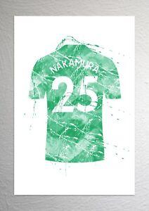 super popular e9c21 de27d Details about Shunsuke Nakamura - Celtic Football Shirt Art - Splash Effect  - A4 Size