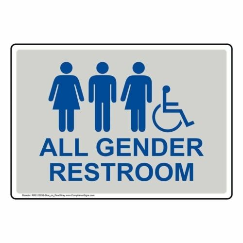 ComplianceSigns Plastic ADA All Gender Restroom Sign, 10 X 7 in. with English Te