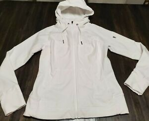 Athleta  Women's Hooded w/ High Collar Athletic Jacket Fitted Size Medium White