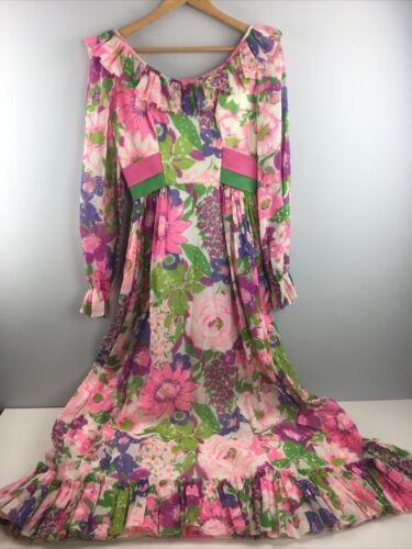 70s Rose Pink Floral Long Sleeve Dress Vtg Vintage 1970s