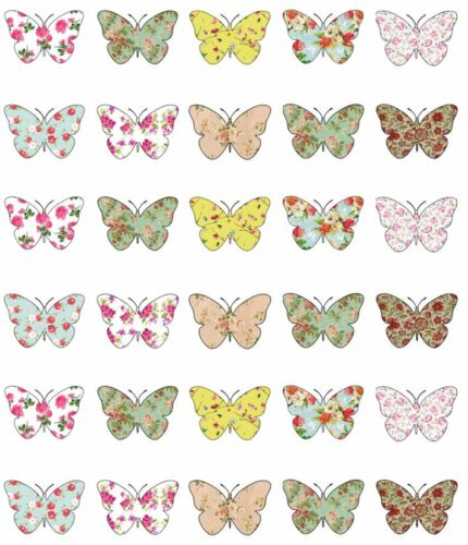 30x Vintage Butterflies Cupcake Toppers Edible Wafer Paper Fairy Cake Toppers