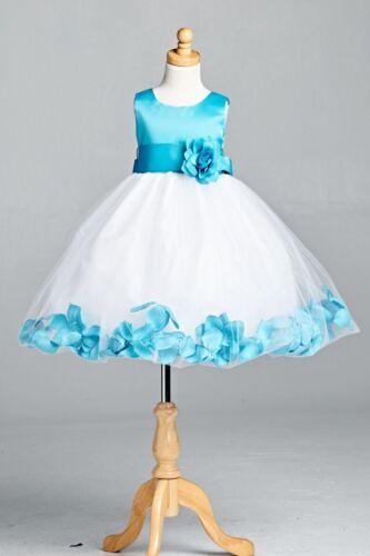 NEW Rose Petal Dress ALL SIZES Flower Girl Easter Recital Birthday Wedding #022